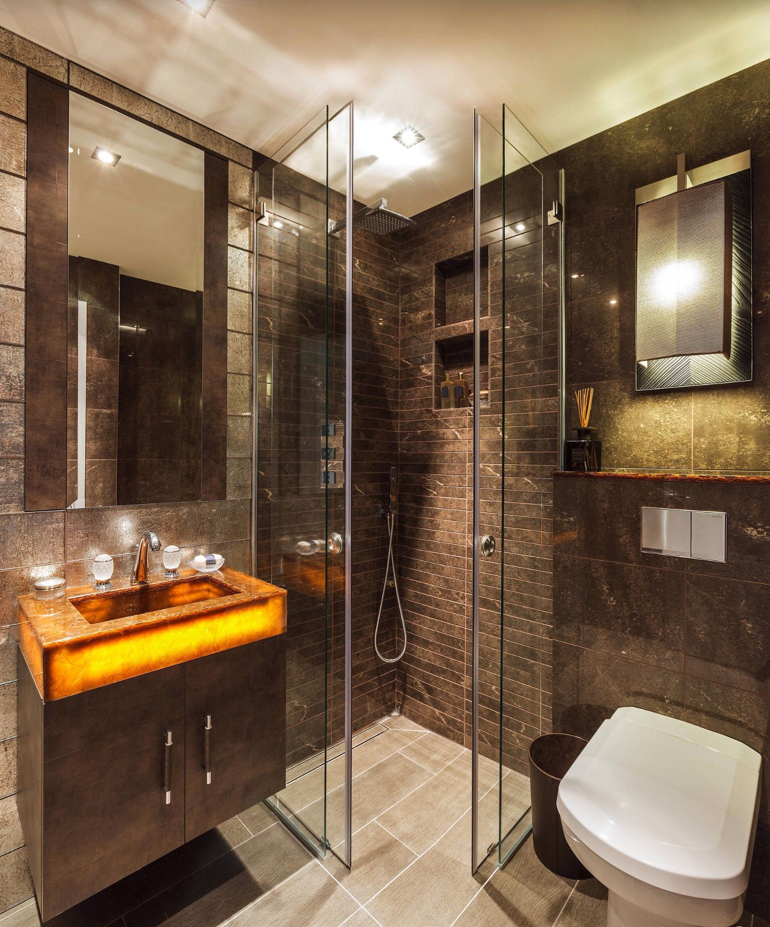 By houzz douche italienne salle de bain tendance salle de bain marron - Houzz salle de bain ...