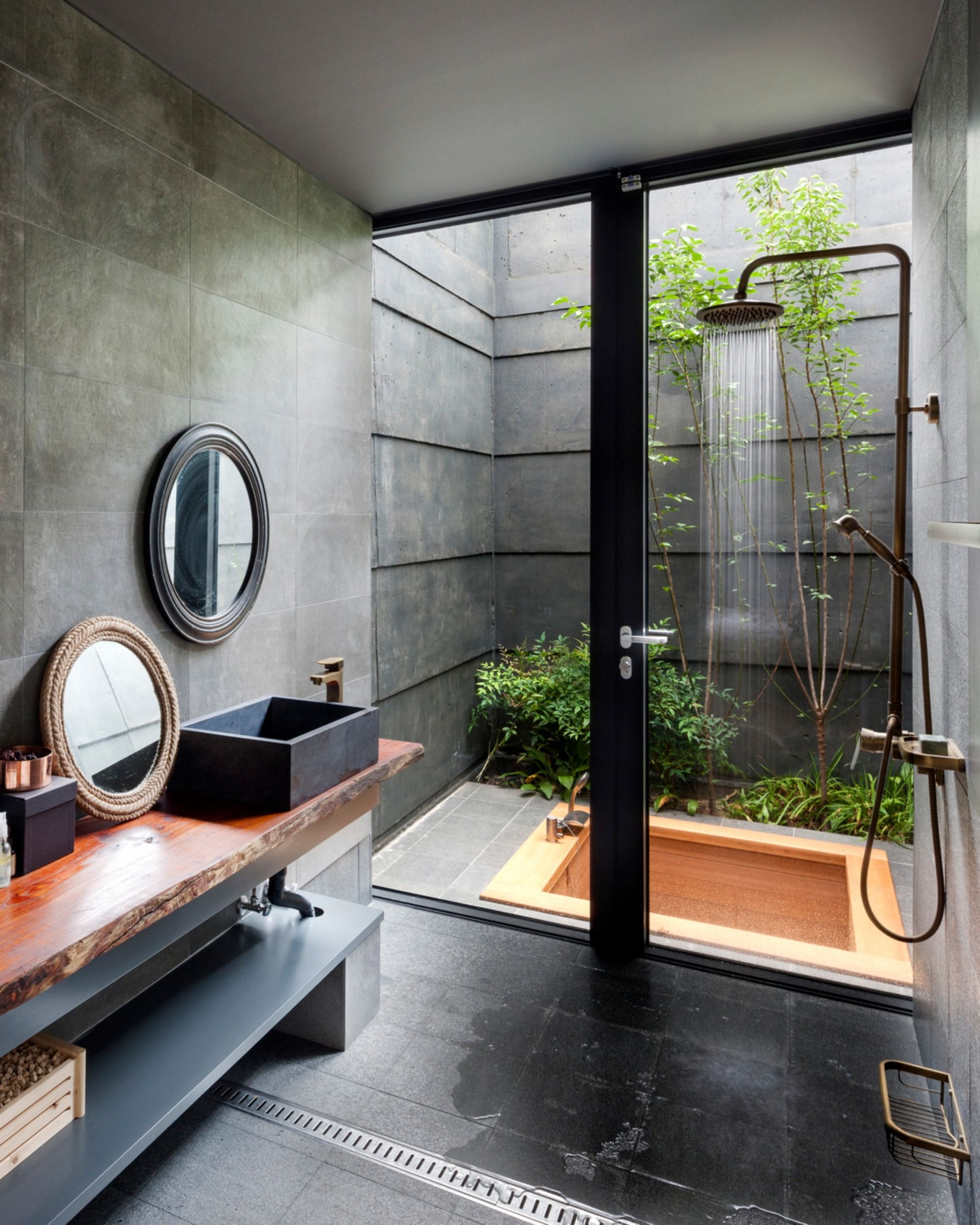 Unique and relaxing outdoor shower in this bathroom design ...