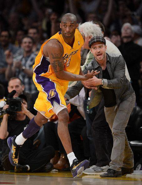 Kobe Bryant And Justin Timberlake Photos Photos Denver Nuggets V Los Angeles Lakers Game Seven Kobe Bryant Pictures Kobe Bryant Black Mamba Kobe