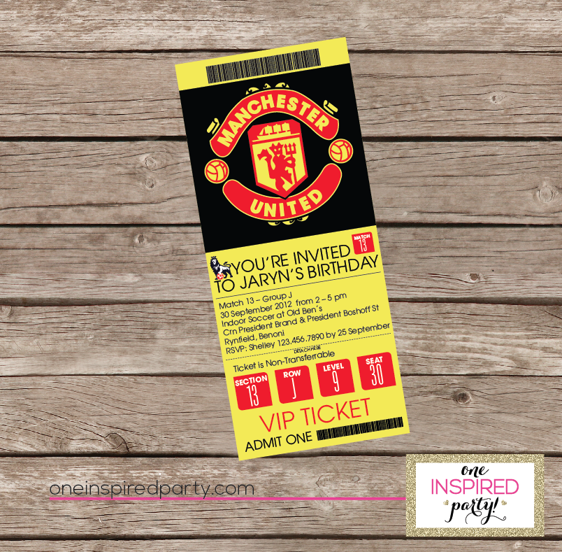 Manchester United Birthday Ticket Style Invitation Soccer Theme Parties Fun At Work Kids Gifts