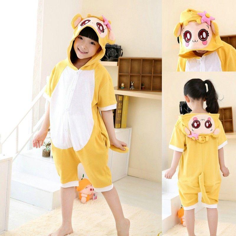 12c0f86b3 Cartoon Yellow Monkey kids Animal Onesies Short Sleeves Pajama ...