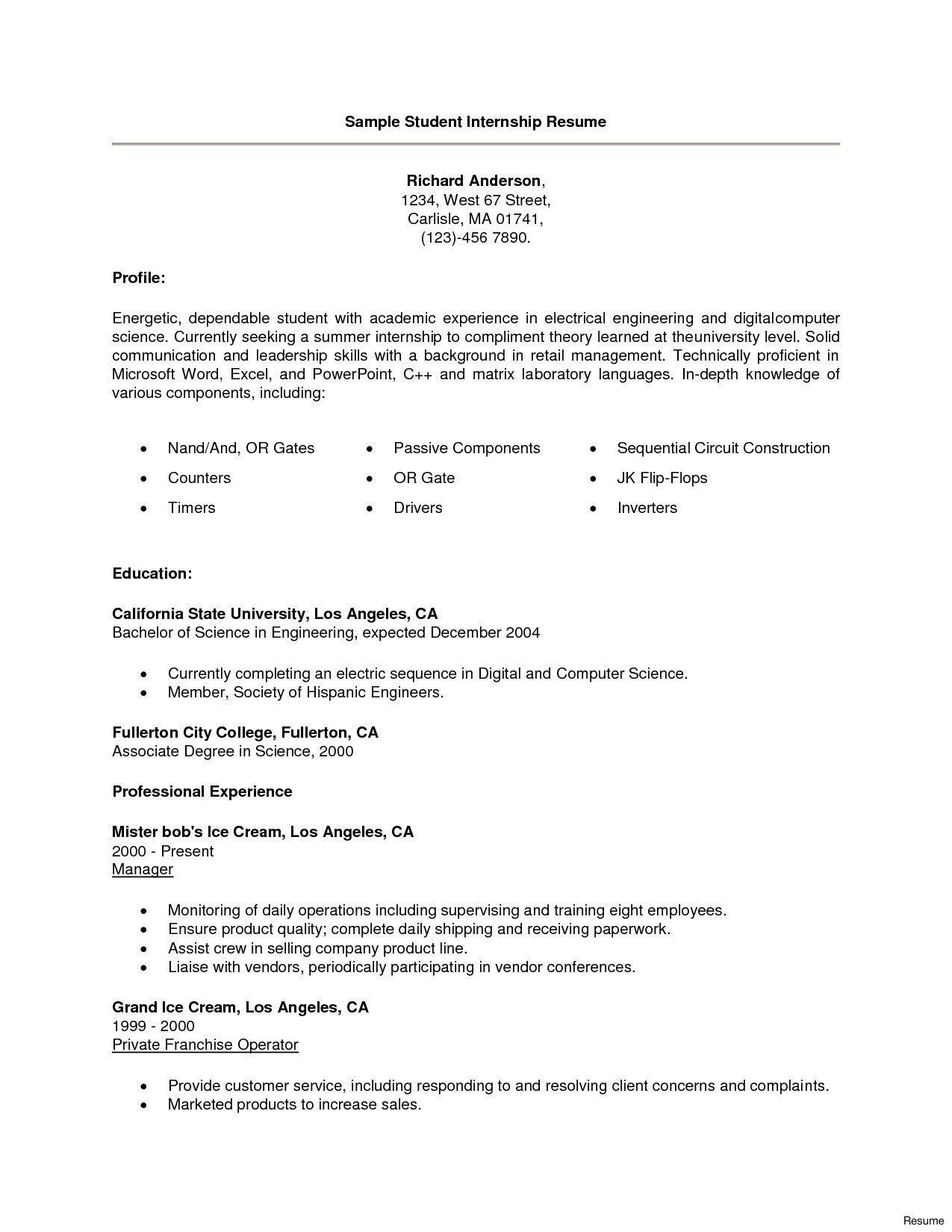 Computer Science Internship Resume 13 Resume For Puter Science