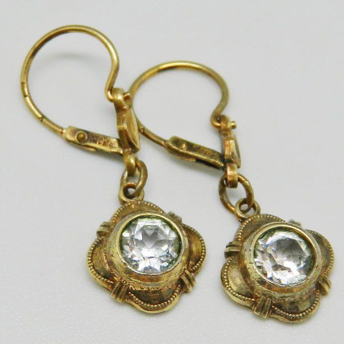 Jugendstil - Alte vergoldete Ohrringe - S1916