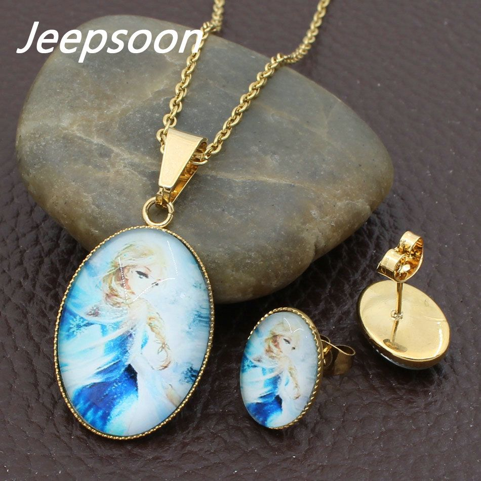 Jeepsoon new fashion stainless steel jewelry set heart pendant and