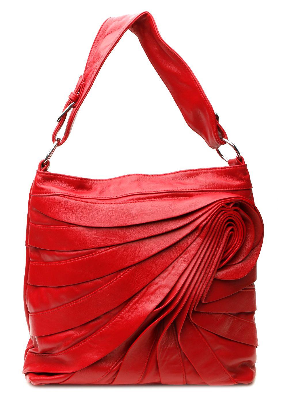 Ada G Handbags Leather Hobo Bag Red