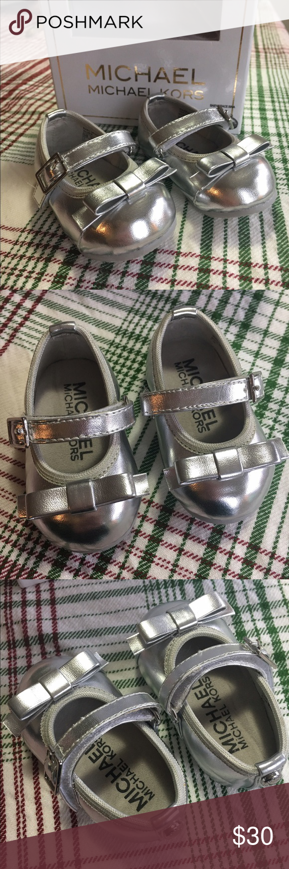 Infants Michael Kors Baby Grace Bina size 1 Infant  Signature MK metallic silver shoe like brand new. My daughter wore these once to take pictures with Santa. Size 1 (0-12 months). KORS Michael Kors Shoes Dress Shoes