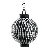 Zebra Print Lighted Tissue Lantern