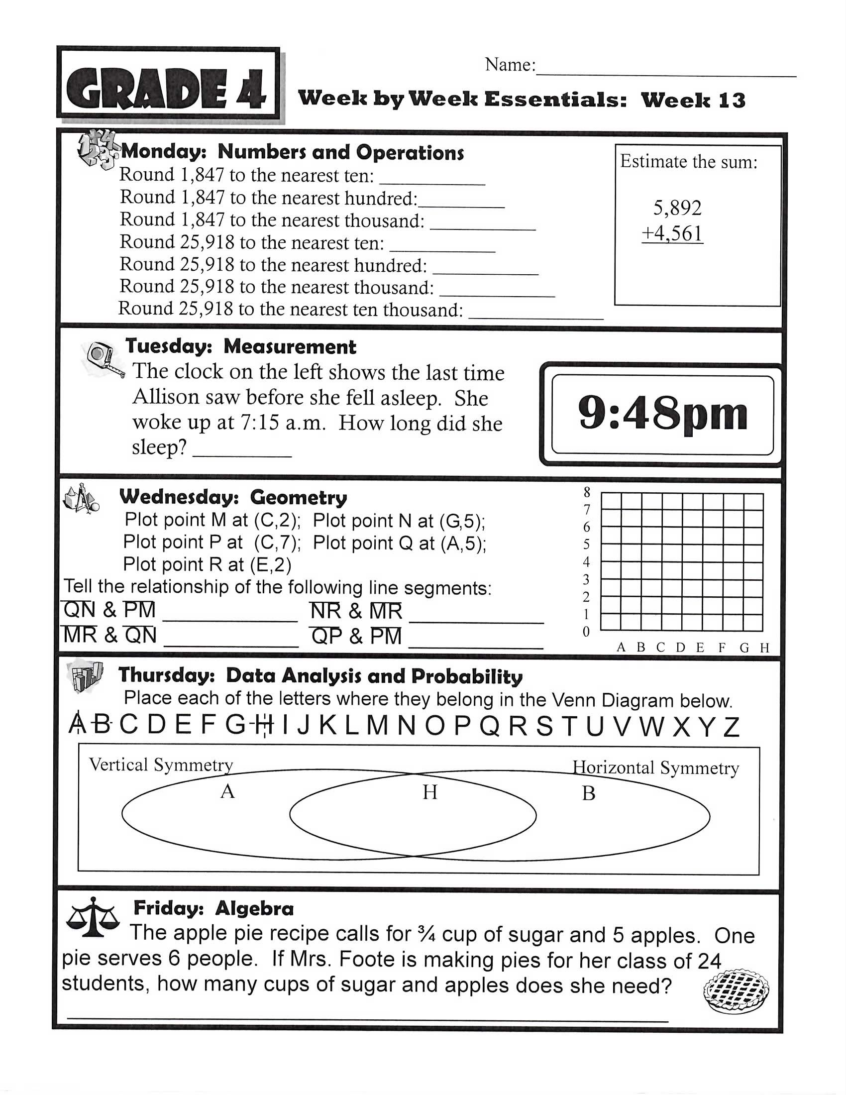 4th Grade Homework Sheets | ... foote in 4th grade math tags 4th ...