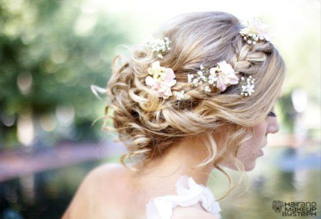 Wedding hair, may use different flowers