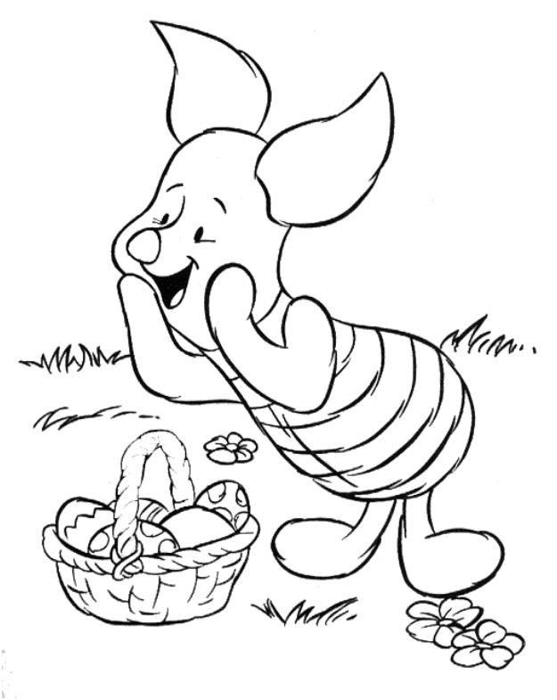Porcinet Trouve Un Panier D Oeufs De Paques Jpg 625 785 Easter Coloring Pages Easter Coloring Pictures Disney Coloring Pages