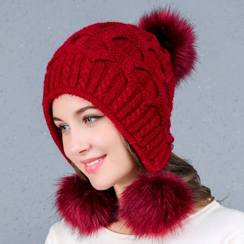 baffcf2338379 Christmas Gift Women Hat Winter Rabbit Fur Thickened Knitted Bobble ...