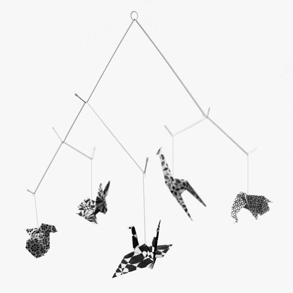 Baby Origami Mobile Black and white  ZOO  Printed by Kidivist, €35.00