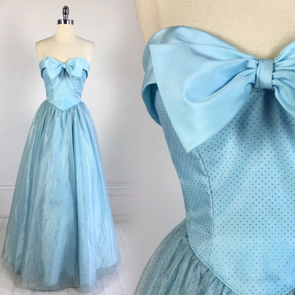 b3b851aa0bad vtg 70s 80s Mike Benet PROM DRESS formal ball gown blue Cinderella  strapless XS #mikebenet