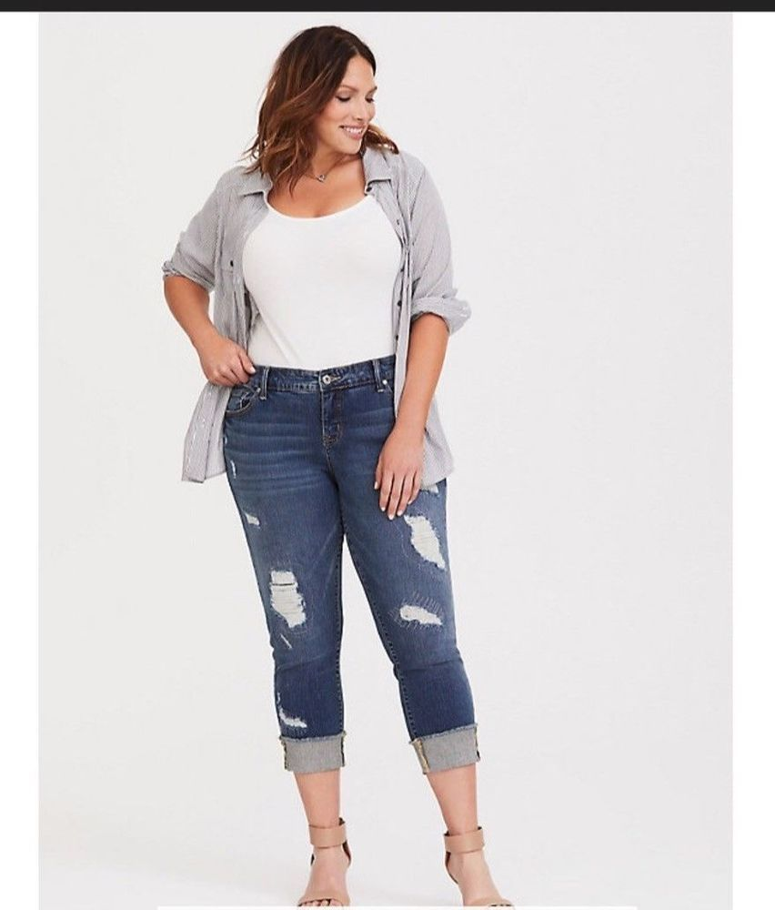f706e8ea8 Torrid Women's Plus Size 26/4X Cropped Boyfriend Jean Distress Medium Wash  #fashion #clothing #shoes #accessories #womensclothing #jeans (ebay link)