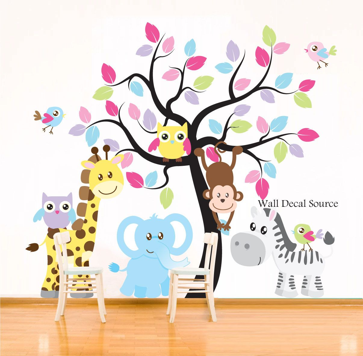 Nursery wall decal jungle animals elephant giraffe for Stickers habitacion nina