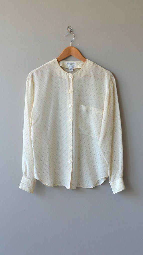 950a3b674a4c53 Vintage 1980s cream silk Christian Dior blouse with tiny polka dots,  collarless neckline and one pocket. --- M E A S U R E M E N T S --- fits  like: