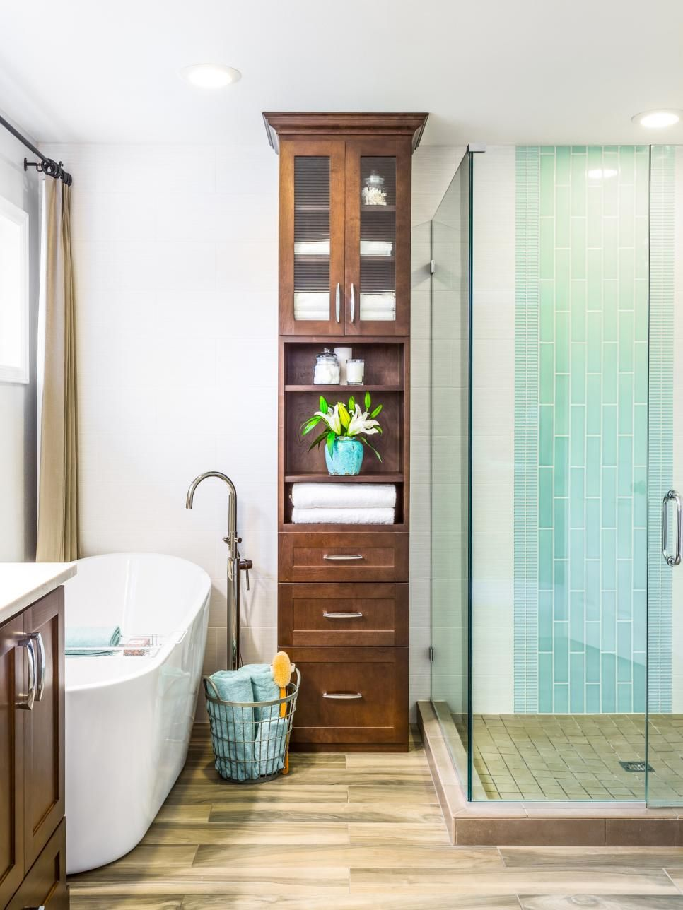 Designer Harmony Wells Chose A Tall Cabinet To Solve Several Problems In Her Clients Small Bath Because The E Only Had 8 Foot High Ceilings