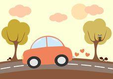 Conducción de automóviles preciosa linda de la historieta en el ejemplo del país Fotografía de archivo libre de regalías