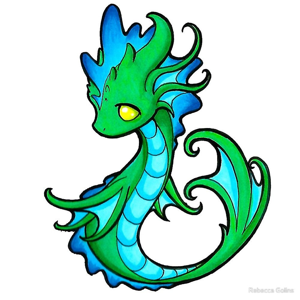 Water Dragon By Rebecca Golins Cute Dragon Drawing Dragon Artwork