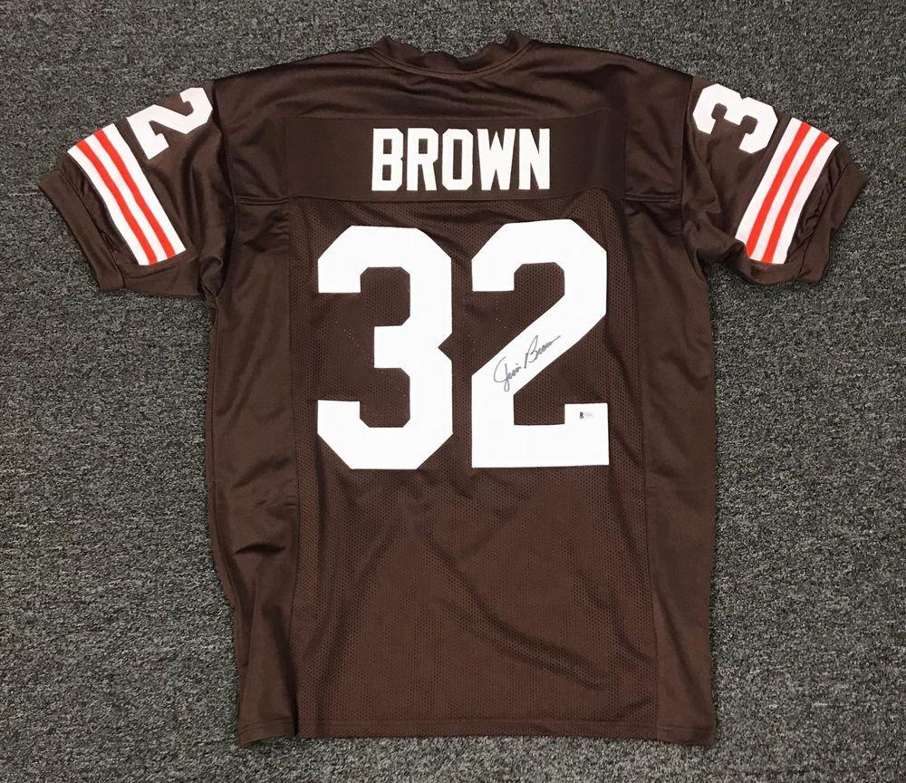 8dd1bb8ac3a Jim Brown  32 Signed Browns Jersey Autographed AUTO Sz XL Beckett BAS COA  HOF