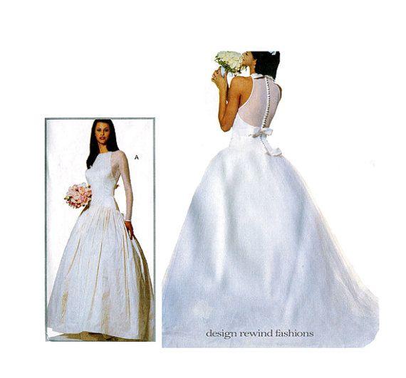 90s WEDDING DRESS PATTERN Vera Wang Fit & Flare Bridal Ball Gown ...