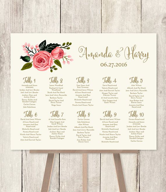 Wedding seating chart sign watercolor rose flower gold calligraphy pink printable file or printed  shipped also rush service polka dots confetti rh pinterest
