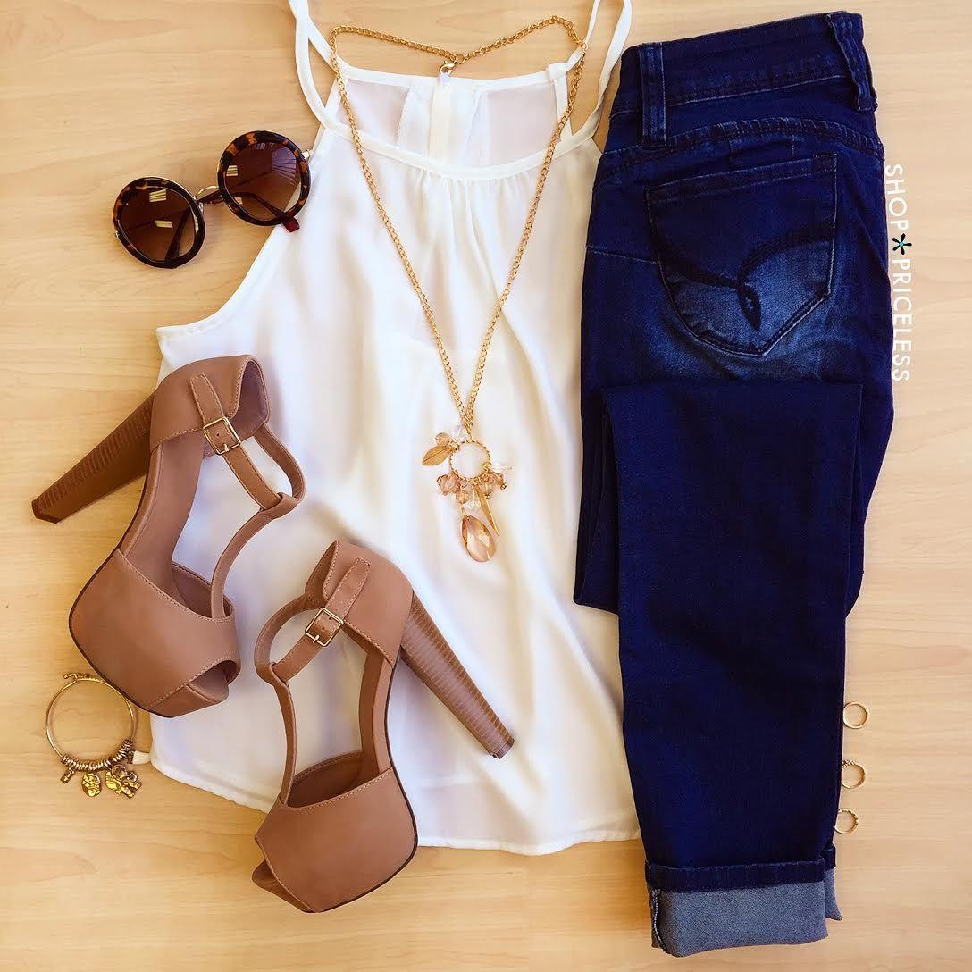 T strap heels | skinny jeans | white tank | summertime ...