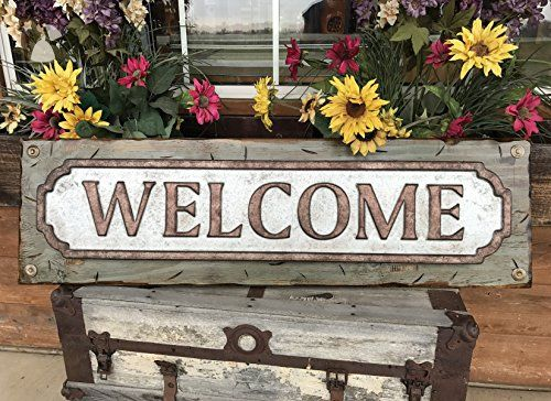Welcome Sign For Home Rustic Metal Tin Welcome On Distressed Wood Antique Red White Or River Rock Blue Gray 41 Large Xl Insi Decor Rustic Metal Home Decor