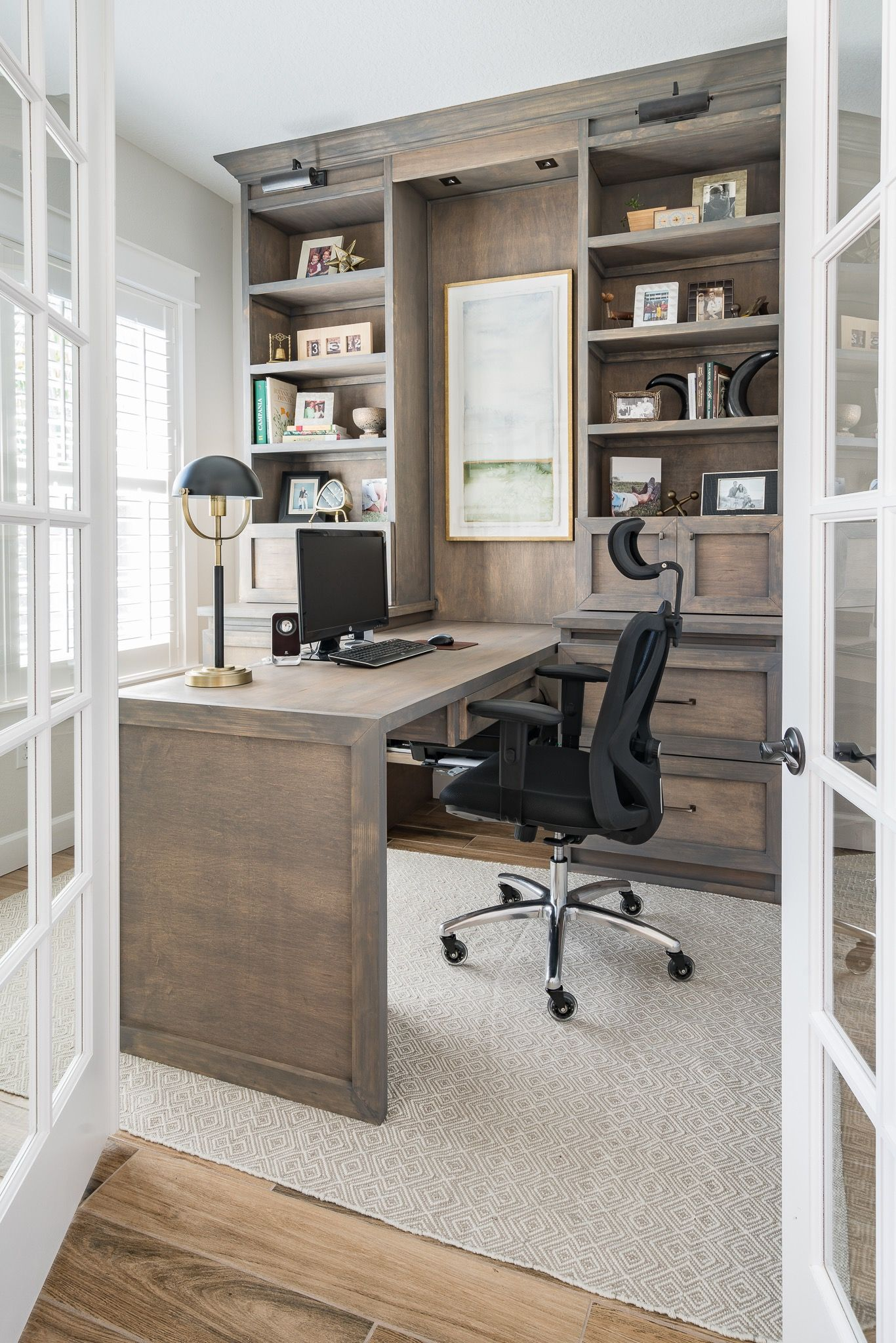 Custom Office With Peninsula Desk Home Office Design Home