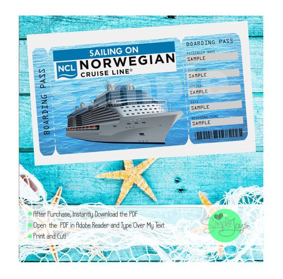 Norwegian Cruise Printable Ticket Cruise Ship Customizable