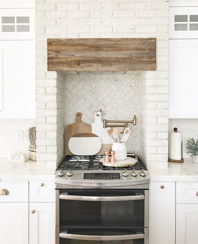 Kitchen Brick Hood And Kitchen Brick Backsplash Using
