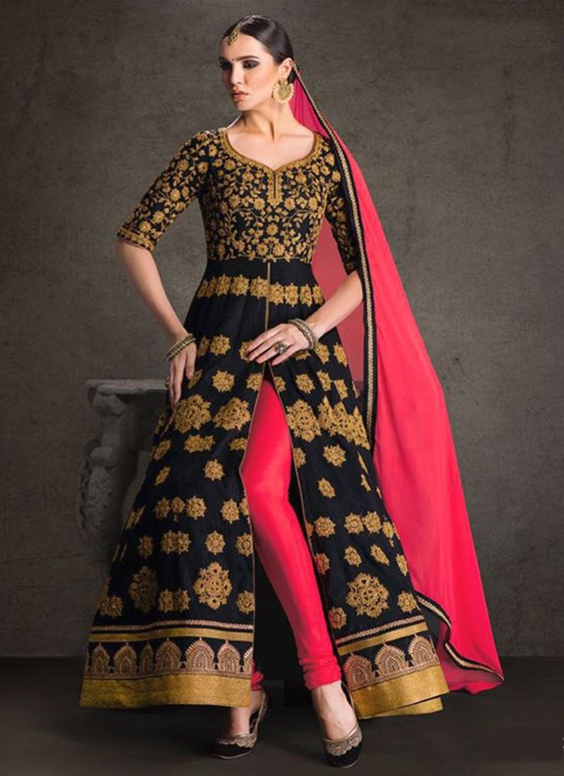 Scintillating black resham work designer floor length suit floor