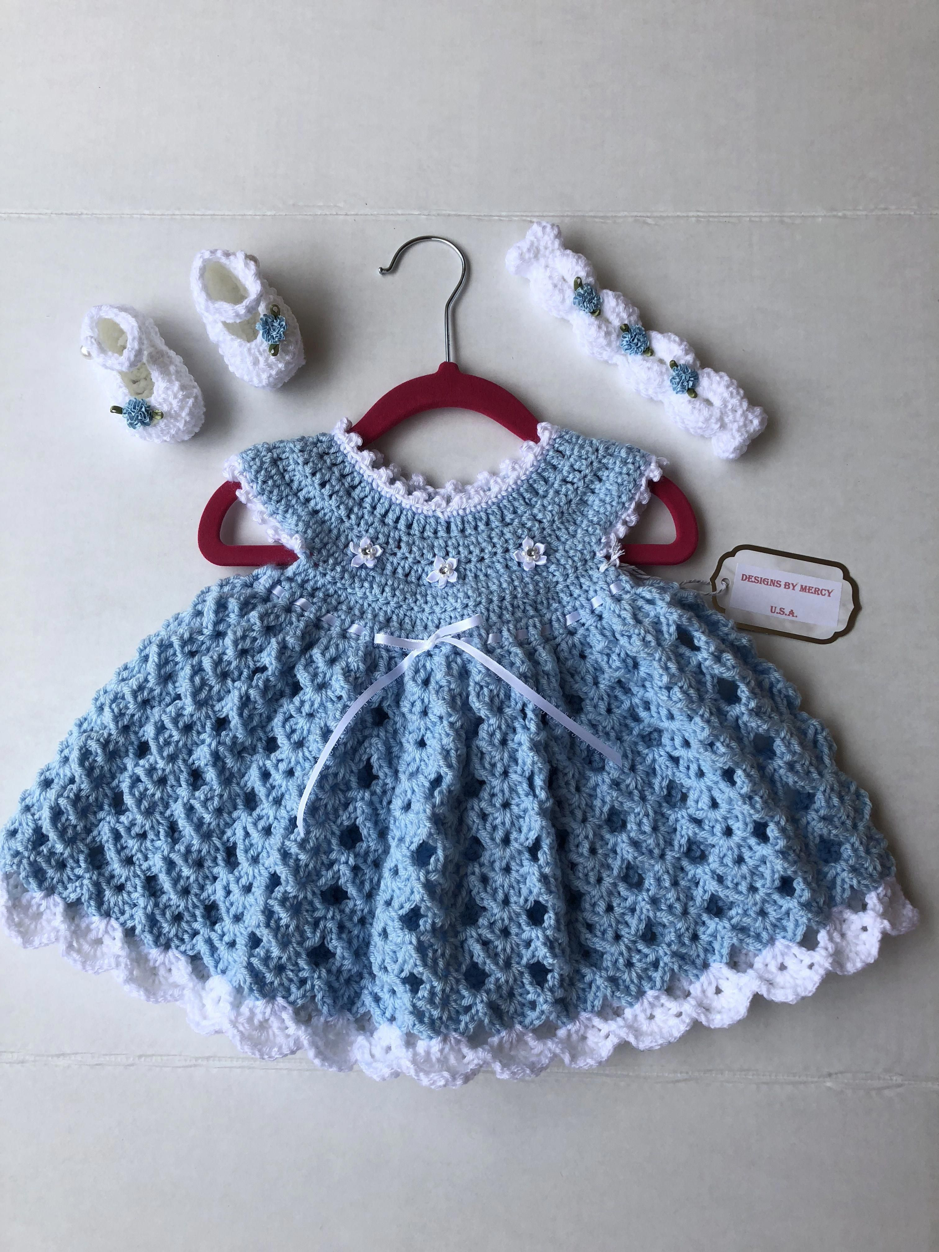 Blue Crochet Baby Dress White Crochet Baby Headband White Crochet
