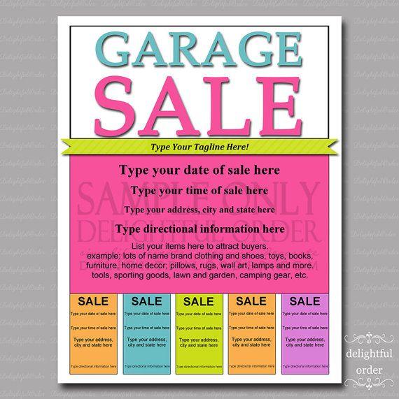 Editable and Printable Garage Sale Flyer - (1) PDF File - Instant ...