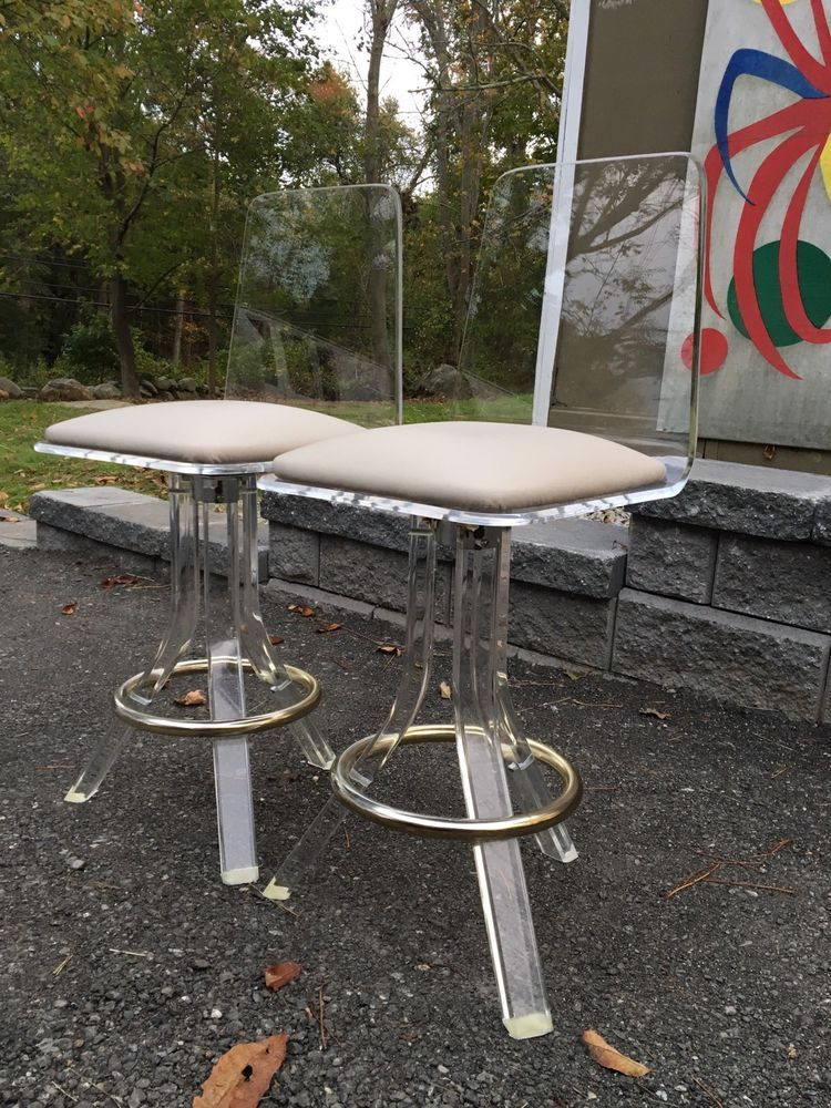 pair vintage 1970s modern lucite bar stools leather seats