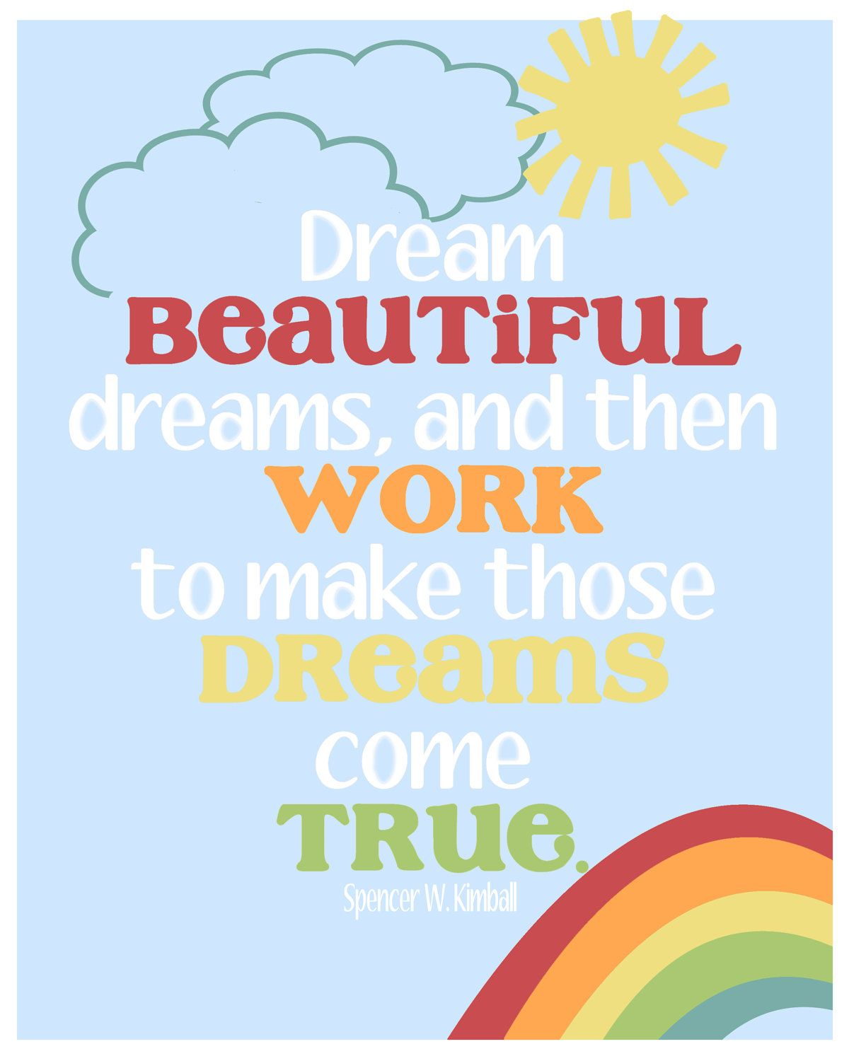 Inspirational print rainbow colorful wall decor kid for Inspirational quotes for kids room