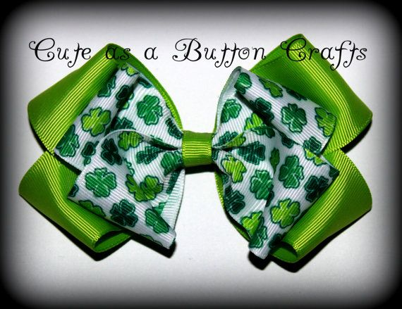 Medium Boutique holiday St Patricks Hair bow by tootoocute4you, $4.00
