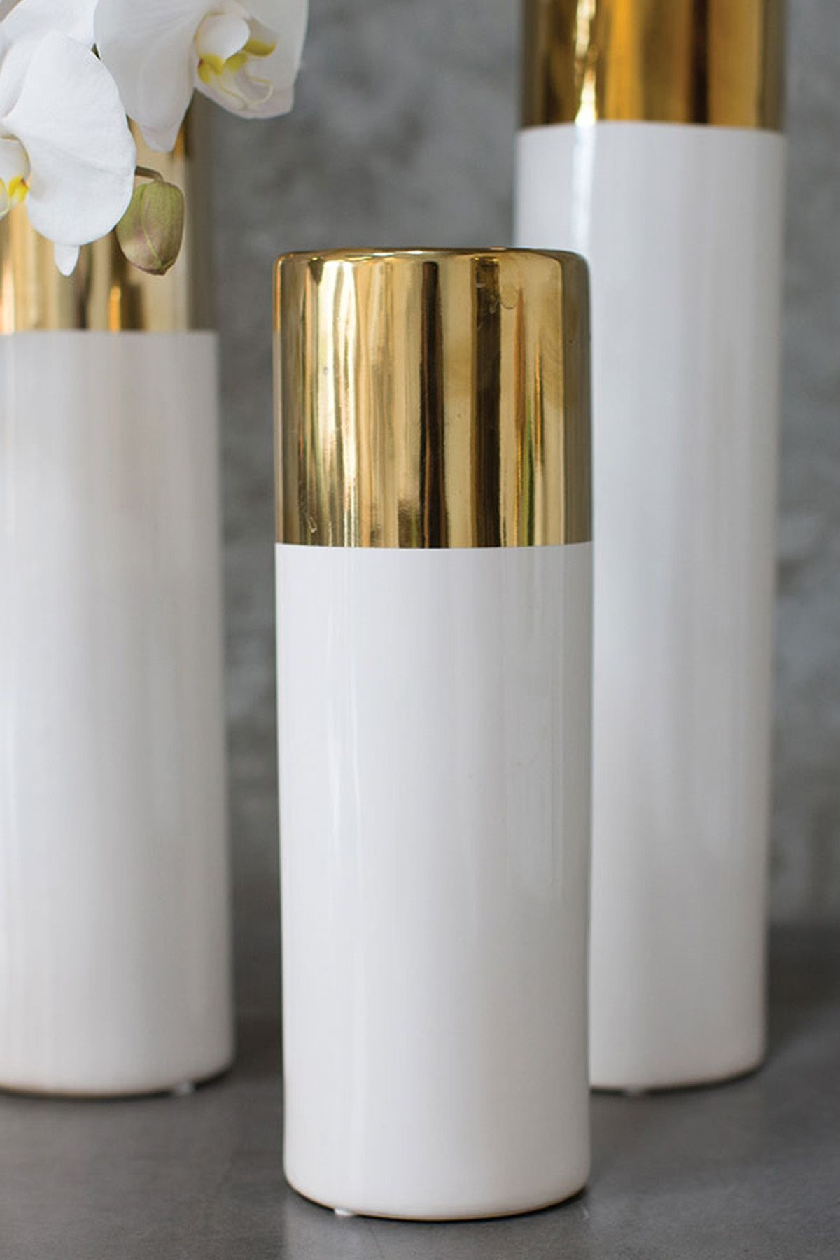 White Gold 12in Klein Vase Candle Centerpieces Gold Cylinder