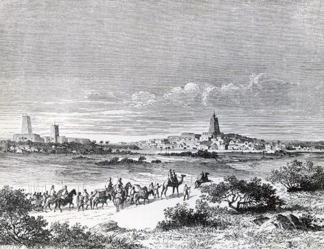 Arriving in Timbuktu, September 7, 1853, engraving from Travels and discoveries in North and Central Africa, 1849-1855, by Heinrich Barth (1821-1865)