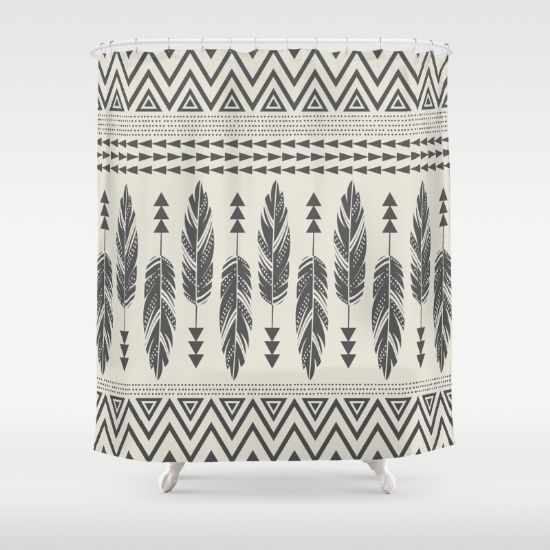 Buy Shower Curtains Featuring Tribal Feathers Black Cream By Bohemian Gypsy Jane Made From 100 Easy Care Polyester Our Designer Are