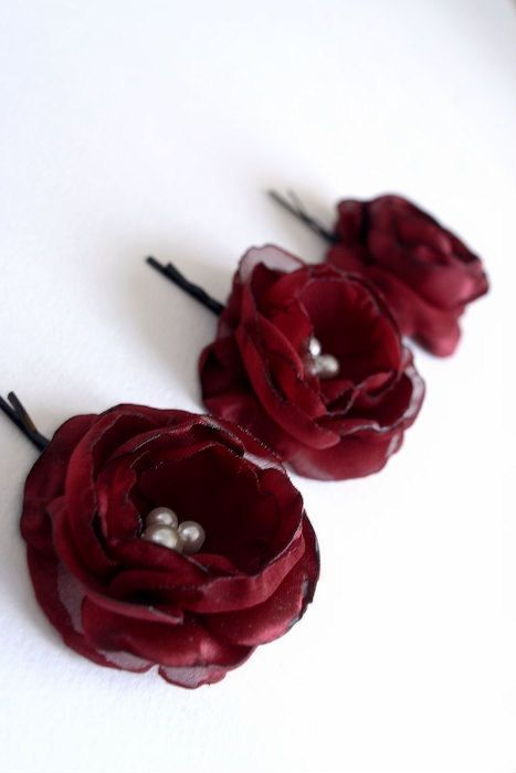 1c49af9b6 Set of threesmall rose blooms handmade of satin and chiffon with ivory  pearls sewn in the centers. Mounted on hair clips/ bobby pins for easy fit  in hair.