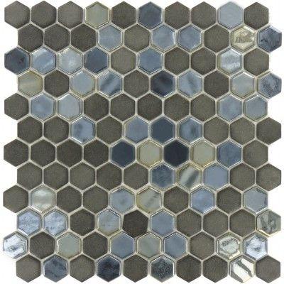 Ebony Hexagon Black Glossy & Matte Iridescent Glass Tile