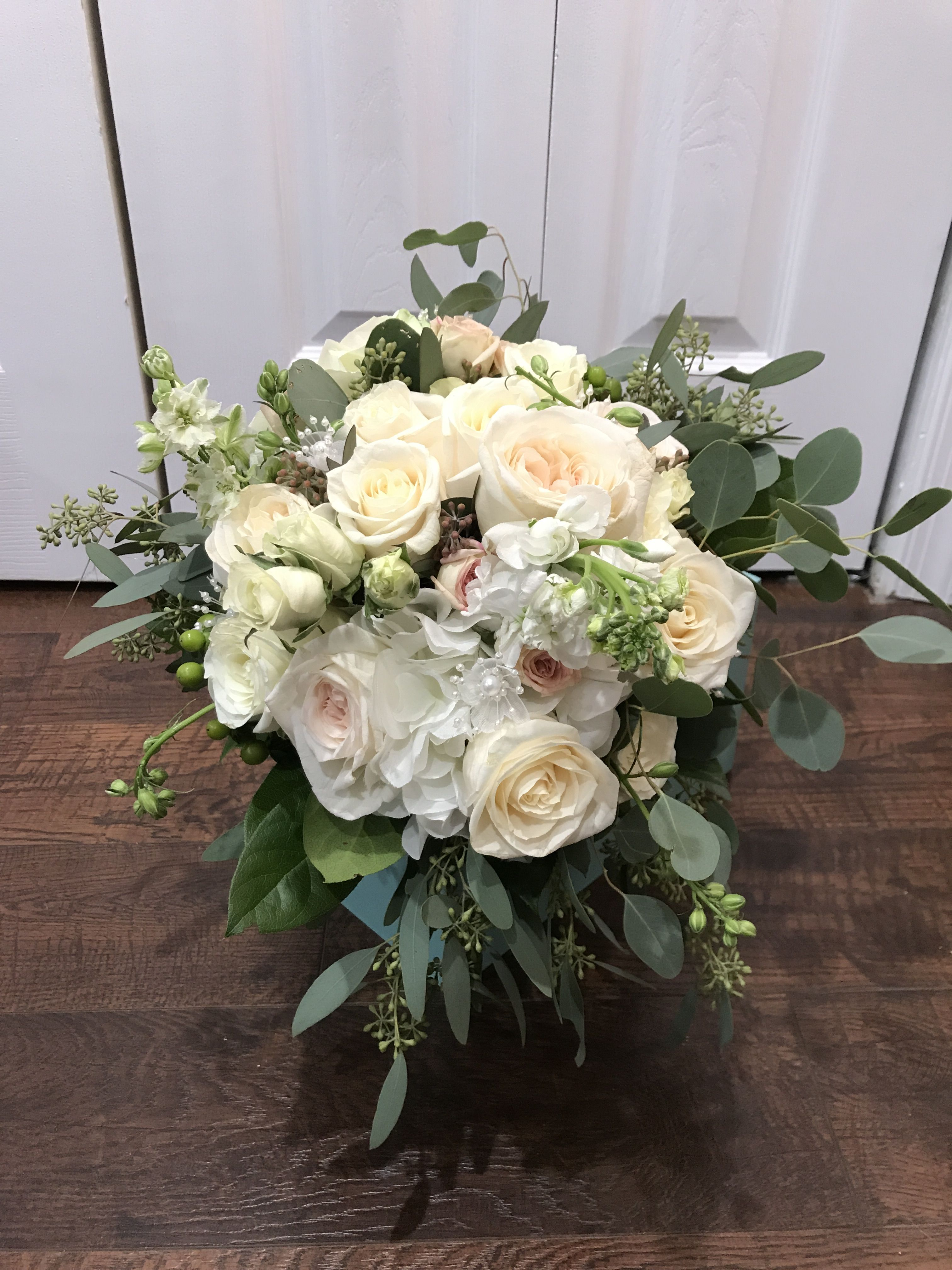 Bridal Bouquet Roses Hydrangea Blush Roses Willow Silver Dollar Seeded Eucalyptus Snapdragon Rose Bridal Bouquet Bridal Bouquet Blush Roses