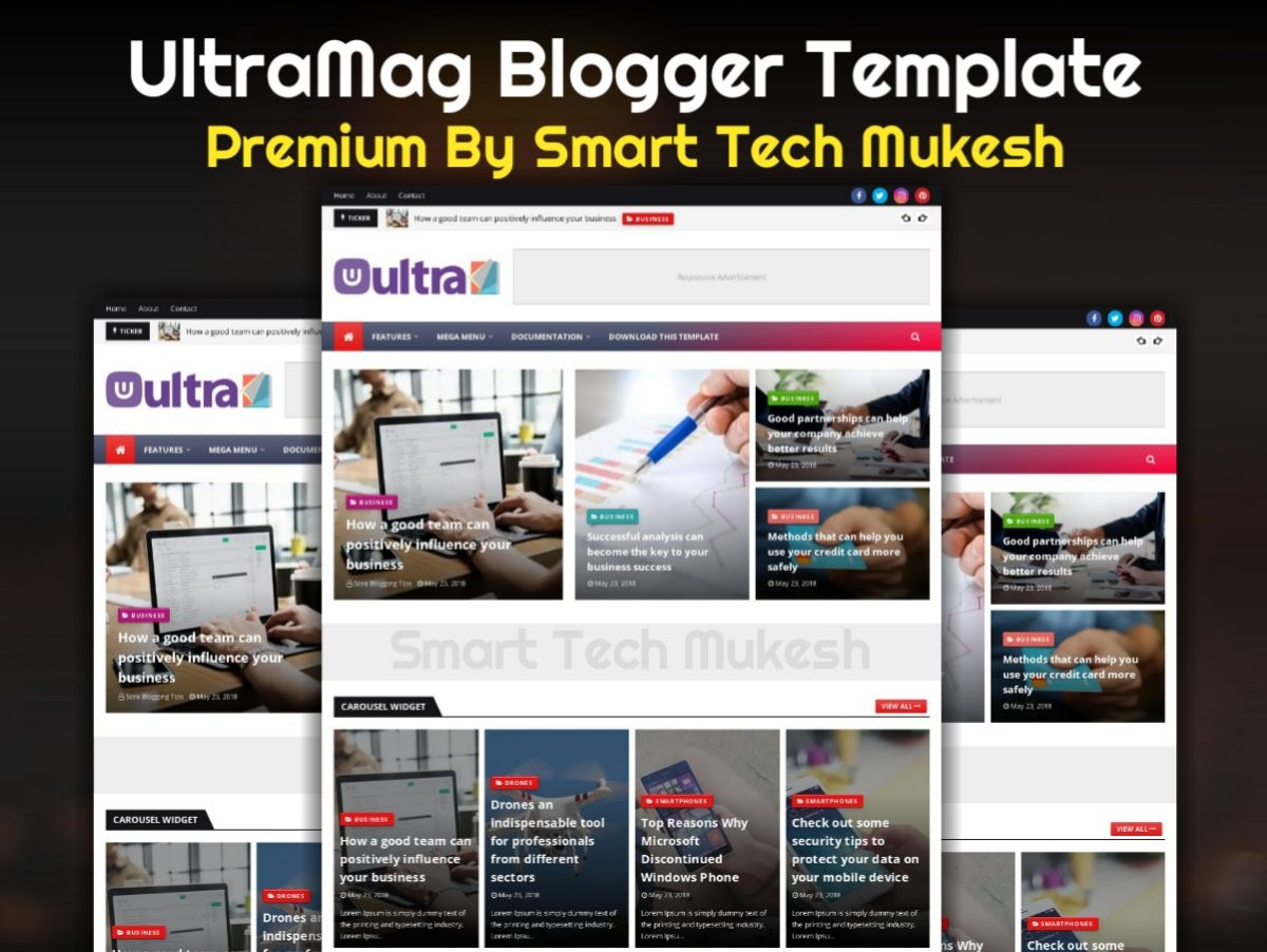 Ultramag Blogger Template Is A Fully Responsive Seo Friendly And Ads Ready Blogger Template At The Same Ti Blogger Templates Free Blogger Templates Templates