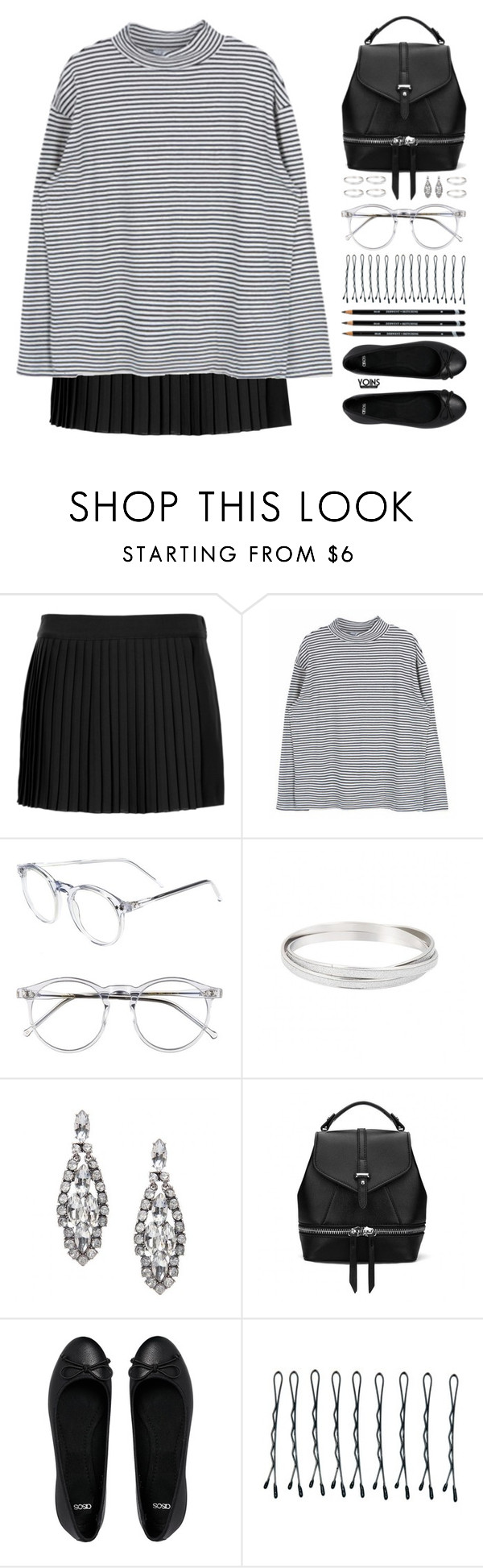 """about mine"" by theglampedia ❤ liked on Polyvore featuring Topshop, Wildfox, ASOS, BOBBY, stripes, pleatedskirts, yoins, yoinscollection and loveyoins"