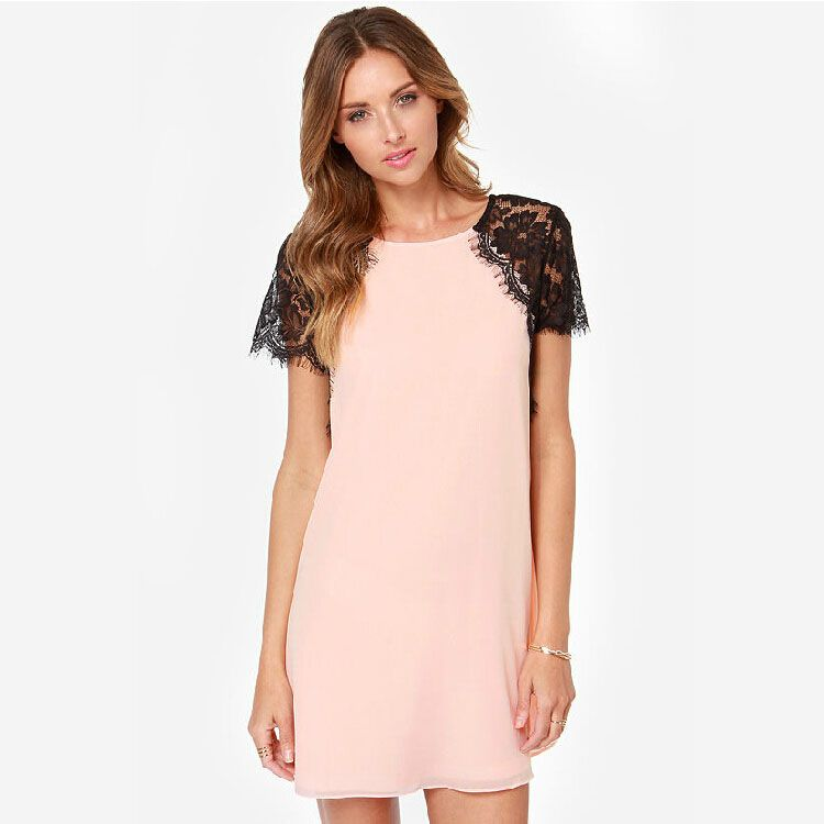 2017 New Pink Patchwork Dress Lace Short Hollow Sleeve Bodycon ...