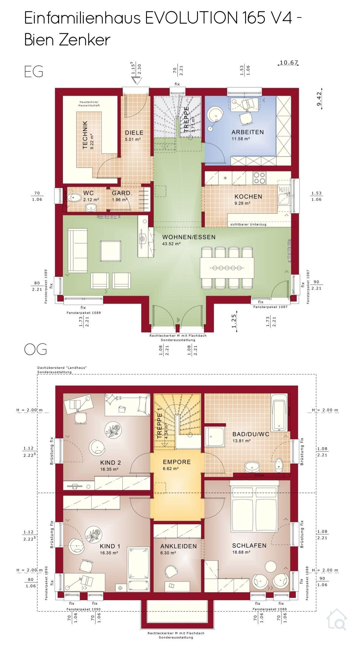 Grundriss Einfamilienhaus Neubau modern mit Satteldach