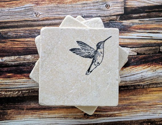 Hummingbird Stone Coasters Home Decor Https Theleakypaintpot Etsy