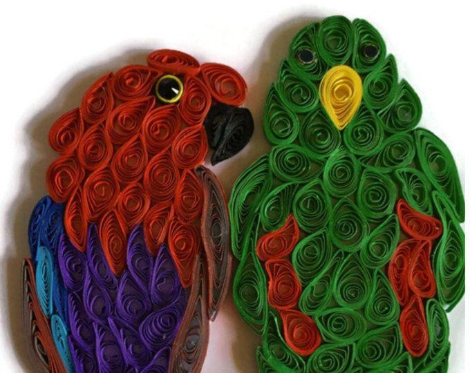 3D Parrot Card, Eclectus Pair, Parrot and Mate, Exotic Pets, Bird