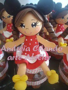 andreiart decoração: Lembrancinha menina vestida de minnie ,,encomenda ...